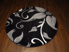 MODERN NEW 140X140CM CIRCLE RUGS WOVEN BACK HAND CARVED BLACK/SILVER LILY LOVLEY